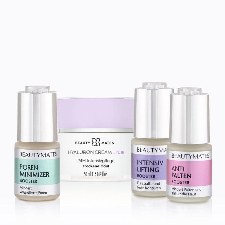 Beautymates Age Perfect Collection aus Hyaluron Cream Lift, Intensiv Lifting Booster, Anti Falten Booster und Poren Minimizer