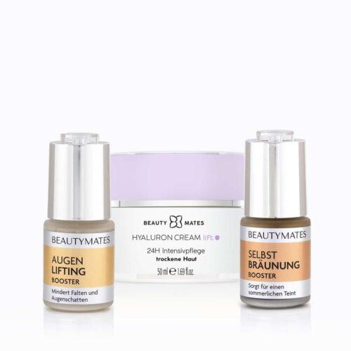 Beautymates Summer Repair Kit aus Hyaluron Cream Lift, Augen Lifting Booster und Selbstbräuner