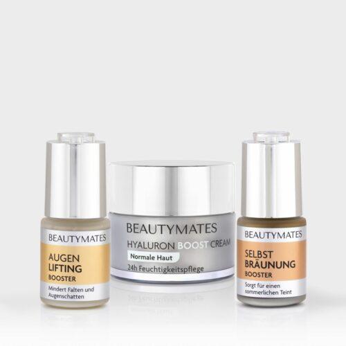 Beautymates Summer Beauty Set aus Selbstbräuner Hyaluron Boost Cream und Augen Lifting Booster