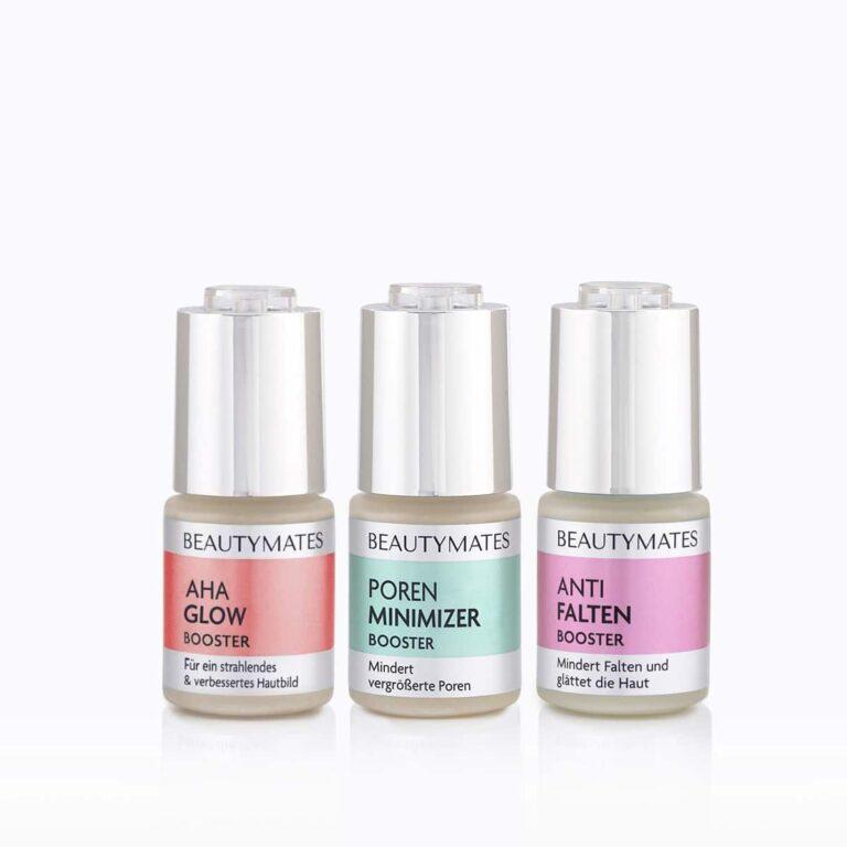 Beautymates Perfect Skin Trio aus AHA Glow Booster, Poren Minimizer Booster und Anti Falten Booster