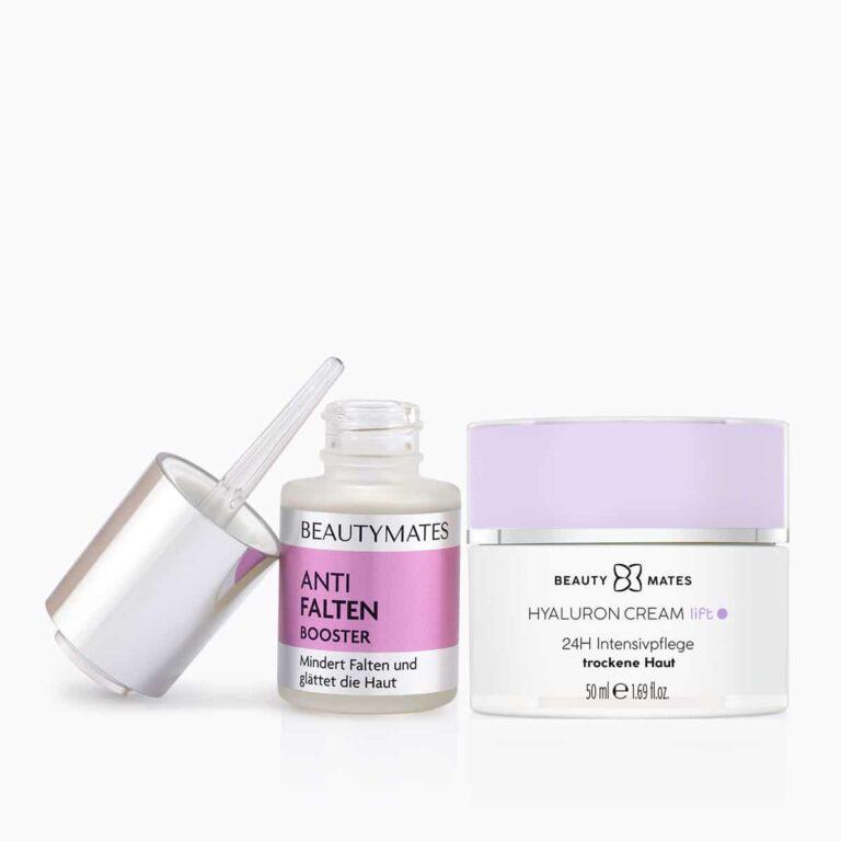 Beautymates Anti Aging Set aus Anti Falten Booster und Hyaluron Cream Lift - Mindert Falten und glättet die Haut.